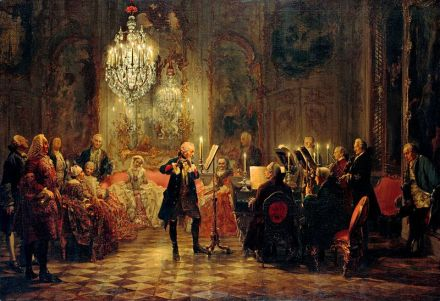 CPE Bach Adolph_Menzel_-_Flötenkonzert_Friedrichs_des_Großen_in_Sanssouci