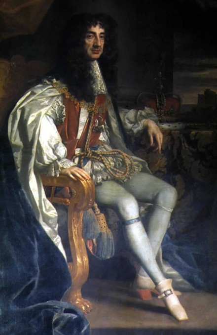Charles II, seated in typical 17th century manner. But I have flipped this image horizontally, in order to show the right leg extended, as needed for baroque harp.
