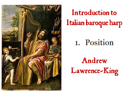 Introduction to Italian Baroque harp 1 Position