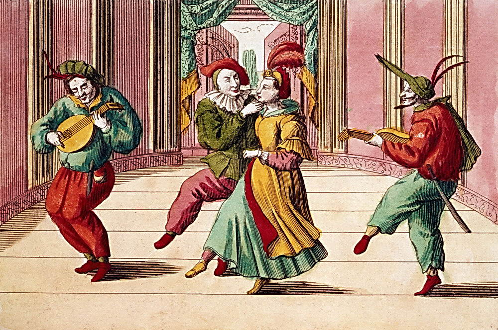Eighteenth-century Engraving of Commedia dell'arte Actors on Stage