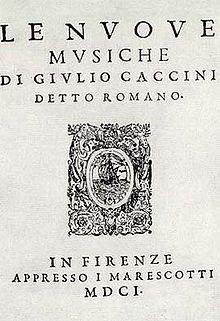 Caccini Nuove Musiche title page