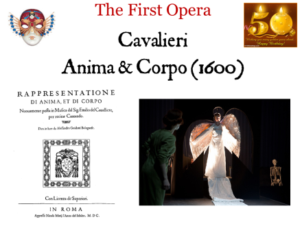 Emilio de Cavalieri's 'Rappresentatione di Anima e di Corpo' (1600) is indeed the 'first opera'. Jacopo Peri, whose 'Euridice' was performed later the same year, acknowledges Cavalieri's role as originator of the style. (Earlier music-dramas by these two composers, notably Peri's 'Dafne', have not survived.) So why would Cavalieri and his contemporaries seek to develop a new theatrical genre of fully-sung plays?
